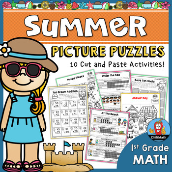 Summer Math Picture Puzzles {1st Grade}