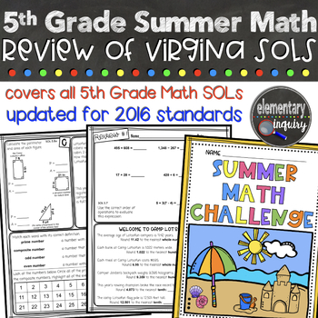 5th Grade Math Review for Virginia SOL Test Prep or Summer Practice
