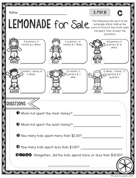 Summer Math Printables - Differentiated for 2nd Grade