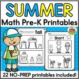 Summer Math Printables for Preschool