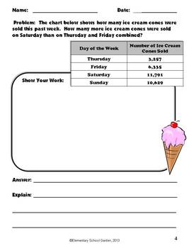 Summer Math Problem Solving Sheets - Word Problems