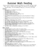 """""""Summer Math"""" Reading List"""