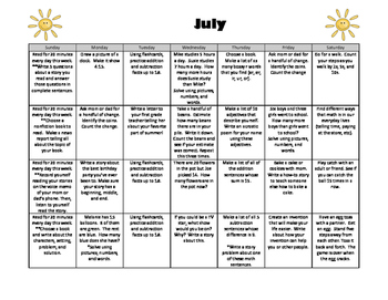 Summer Math, Reading, and Writing Calendar