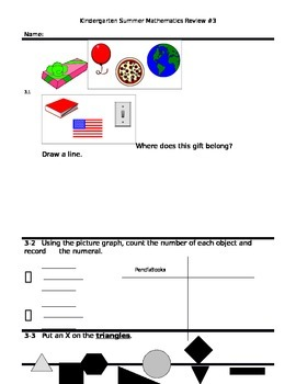 Summer Math Review Packet Students Entering into 1st Grade