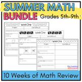 Summer Math Review Packet Bundle: Grades 5-9 Common Core Aligned