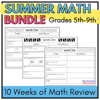 Summer Math Review Packet Bundle: Grades 5-9 Common Core Aligned