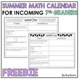 Summer Math Review Calendar for Incoming 7th Graders Freebie