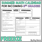 Summer Math Review Calendar for Incoming 8th Graders Freebie