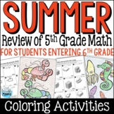 Back to School Math Packet: Fifth Grade Math Review for Rising Sixth Graders