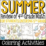 Back to School Math Packet: Fourth Grade Math Review for Rising Fifth Graders