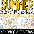 End of Year Math or Summer Math Packet: Fourth Grade Math Review