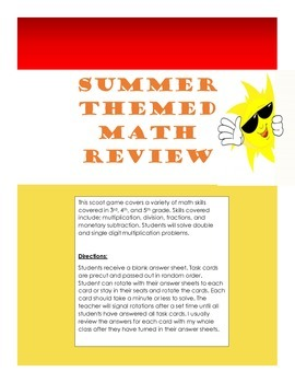 Summer Math Review Scoot