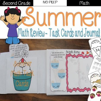 Summer Review: 2nd Grade Task Cards and Journal (Math)