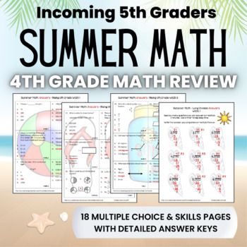 Summer Math Packet for Rising 5th Graders - Review of 4th