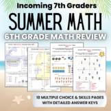 Summer Math Packet for Rising 7th Graders - Review of 6th Grade Math