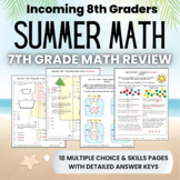 Summer Math Packet for Rising 8th Graders - Review of 7th