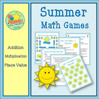 Summer Math Stations - Addition, Multiplication, Place Value