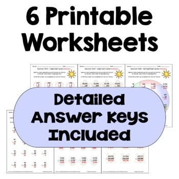 Summer Math - Multi Digit Subtraction Worksheets