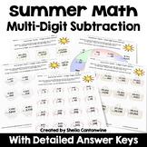 Summer Math Packet Multi Digit Subtraction Worksheets