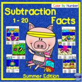 Summer Math Subtraction Facts 1-20 Color By Number Indepen