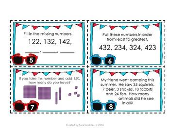 Summer Math Task Cards