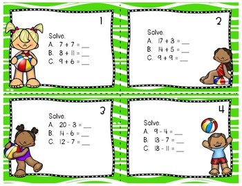 Summer Math Task Cards (2nd grade)
