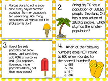 Summer Math Task Cards SCOOT 3rd grade 4th grade TEKS CCSS aligned