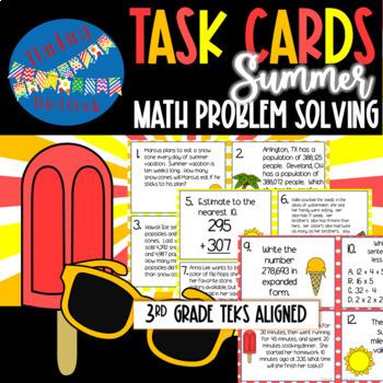 Summer Math Task Cards SCOOT 3rd grade 4th grade TEKS CCSS aligned