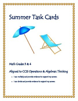 Summer Math Task Cards - For students exiting 3rd and 4th Grades
