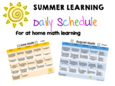 Summer Math Work - Daily Calendar for June, July and August K-2
