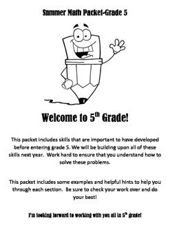 Summer Math Work Packet Grade 5