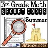 Summer Math Worksheets Secret Codes 3rd Grade Common Core