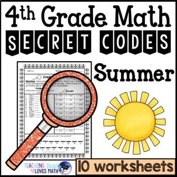 Summer Math Worksheets Secret Codes 4th Grade Common Core