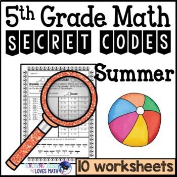 Summer Math Worksheets Secret Codes 5th Grade Common Core   TpT