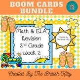 Summer Math and ELA Review Second Grade Bundle Week 2 Boom Cards