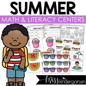 Summer Math and Literacy Centers for Kindergarten