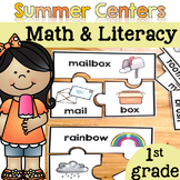 Summer Math and Literacy Centers {First Grade}