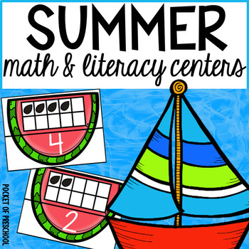 Summer Math and Literacy Centers for Preschool, Pre-K, and