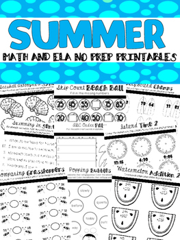 Summer Math and Literacy No Prep Printables {2nd Grade}