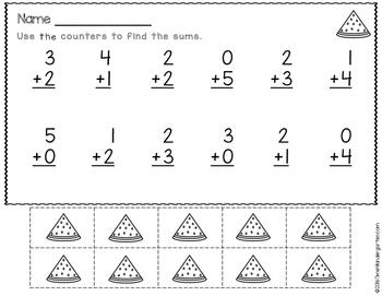 Summer Math for Kindergarten Freebie