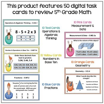 Summer Math for Rising 6th Graders Digital Task Cards BOOM Cards