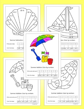 Summer Math - Simple Addition and Subtraction - NO PREP