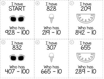 "Summer May 2nd  Grade ""I Have, Who Has"" Math Game Bundle"