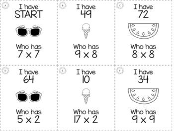 "Summer May 3rd  Grade ""I Have, Who Has"" Math Game Bundle"