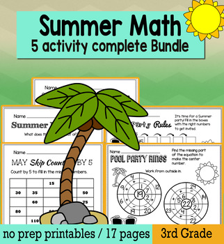 End of the Year May Math for 3rd Grade - NO PREP Packet