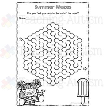 Summer Maze Worksheets
