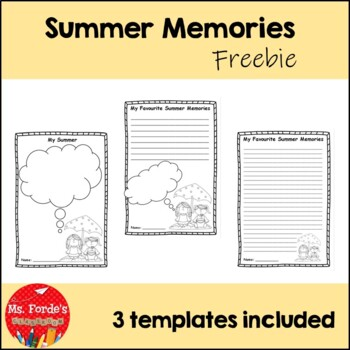 Summer Memories Freebie Back To School Activity By Ms