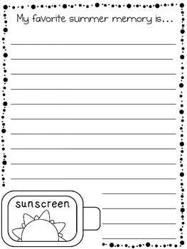 Summer Memory Writing Paper