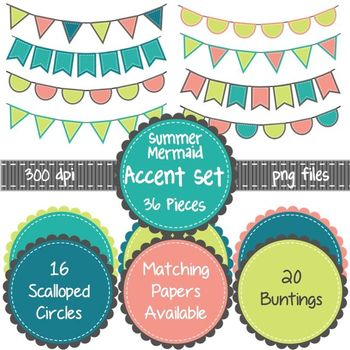 Summer Mermaid Accents Set ~ Scalloped Circles & Bunting in Teal. Coral, Lime