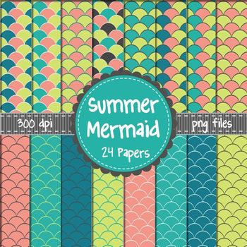 Summer Mermaid Digital Background Papers in Coral, Teal, and Lime